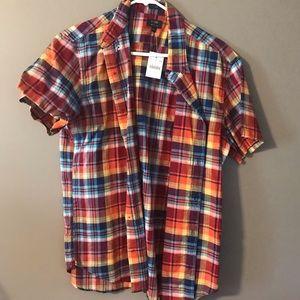 Men's cotton linen short sleeve button-up